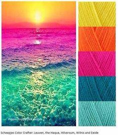 Color palette for coloring Yarn Color Combinations, Bright Color Schemes, Bright Color Pallets, Bright Colors, Bright Bedroom Colors, Purple Color Palettes, Colour Pallette, Sunset Color Palette, Bright Colour Palette