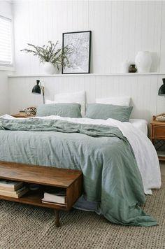 beach home decor casual bedroom design // sea foam and white bedroom design // shiplap walls // mid-century modern shelves Bedroom Inspo, Home Bedroom, Design Bedroom, Master Bedrooms, White Bedrooms, Master Suite, Bedroom Signs, Linen Bedroom, Bedroom Furniture