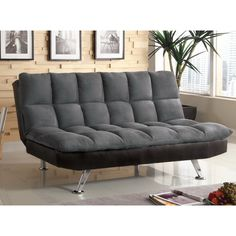 Furniture of America Elephant Skin Dark Grey Microfiber Futon | Overstock™ Shopping - Great Deals on Furniture of America Futons