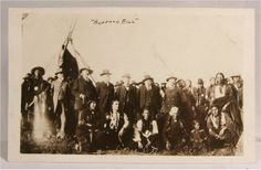 """1916 photo of Buffalo Bill and cast members and performers of Miller Brothers 101 Ranch Show. Figure in center of photo believed to be William """"Pawnee  Bill"""" Lillie dressed in 3 piece suit. Rare, outstanding content. s*c"""