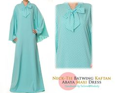 Aqua Neck-Tie Batwing Kaftan Lightweight Summer Long Sleeved Abaya Maxi Dress - Free Size S/M/L 4906 FREE SHIPPING! by Tailored2Modesty on Etsy