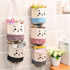 Linen Cotton Fabric Wall Hanging Storage Bag Case Pockets Home Organizer Cosmetic Keys Toy Sorting Hanging Bag Box Hanging Storage Pockets, Wall Hanging Storage, Hanging Closet, Wand Organizer, Hanging Organizer, Container Organization, Bag Organization, Linen Storage, Bag Storage