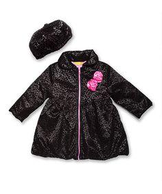 Penelope Mack Pink Leopard Velvet Swing Coat & Beret - Infant ...