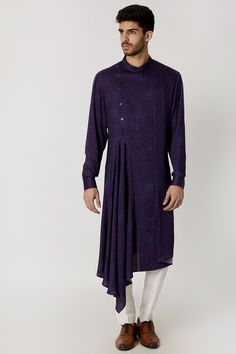 Featuring a purple draped kurta in cotton viscose base with side opening and digital print. It has a button closure and is woven. This contains only one piece. FIT: True to size. CARE: Dry clean only. Mens Tunic, Boys Kurta, Mens Kurta Designs, Pernia Pop Up Shop, Cotton Viscose, Indian Wear, Indian Outfits, Digital Prints, High Neck Dress
