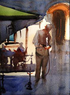 """zhu laober; Watercolor 2013 Painting """"Shisha shop"""""""