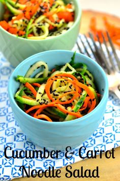 Spiralized Cucumber & Carrot Noodle Salad  - it only takes 5 minutes to make this refreshing and healthy summer salad with tangy rice vinegar and nutty sesame seeds. (scheduled via http://www.tailwindapp.com?utm_source=pinterest&utm_medium=twpin&utm_content=post9250040&utm_campaign=scheduler_attribution)