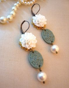 Wedding Jewelry Earrings Green Floral Dangle Earrings, $18.00  #green #wedding
