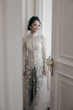 Wedding Reception Outfit For Bride Dress Styles Ideas Kebaya Wedding, Muslimah Wedding Dress, Muslim Wedding Dresses, Kebaya Muslim, Kebaya Hijab, Muslim Dress, Kebaya Lace, Kebaya Dress, Hijab Dress