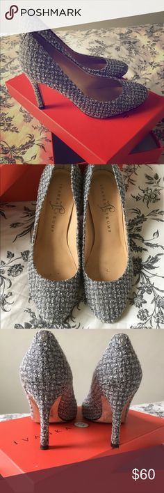 Ivanka Trump Grey/Silver heels A little worn but in really good condition. I maybe wore them three times. They're good for office or going out! Ivanka Trump Shoes Heels