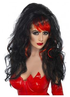 Blood Drip Siren Wig Black /& Green Ladies Long Curly Wig Halloween Fancy Dress