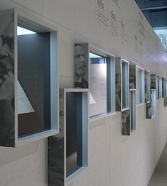 Display boxen in glas in de wand - Graphic-ExchanGE - a selection of graphic projects - Kerry Ropper Environmental Graphic Design, Environmental Graphics, Exhibition Display, Exhibition Space, Display Design, Wall Design, Donor Wall, Timeline Design, Museum Displays
