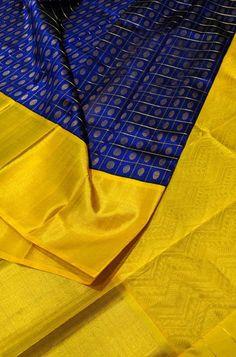 1 new message Kanjivaram Sarees Silk, Indian Silk Sarees, Kanchipuram Saree, South Silk Sarees, Blue Silk Saree, Half Saree Designs, Silk Saree Blouse Designs, Saree Color Combinations, Saree Floral