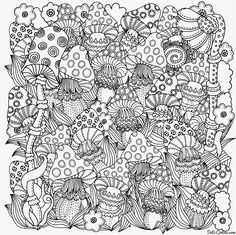 Pattern For Coloring Book In Vector Fantasy Fairy Mushrooms The Magic Forest Black And White Made By Trace From Sketch Zentangle