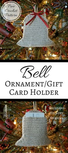 Crochet the Bell Ornament/Gift Card Holder when giving your holiday presents this year! This pattern is easy, free and works up quickly. Christmas gift. #crochet #freecrochetpattern #christmas #ornament #easychristmascards
