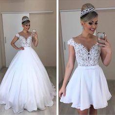 Amazing white prom dress with top lace long/short prom dress - Schöne ballkleider - brautkleid Cheap Bridal Dresses, Top Wedding Dresses, Wedding Dress Trends, Bridal Gowns, Wedding Gowns, 2 In 1 Wedding Dress, Red Wedding, Gothic Wedding, Convertible Wedding Dresses
