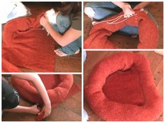 Find out how to make a cat bed from a jumper in this easy to follow video tutorial. Visit us for more upcycling project ideas and how to videos! #upcycle #cat #dog #green #reuse
