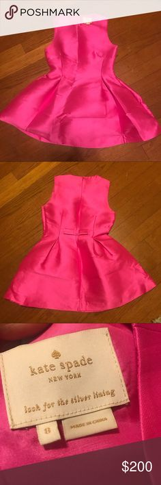 Kate Spade HOT pink dress with Bow! SZ 8 Worn twice for holiday parties! Make me an offer! kate spade Dresses