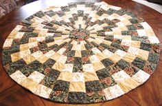 Pinecone Circle Table Topper made with Cheryl Phillips 10 degree wedge ruler.