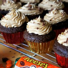Chocolate and Peanut Butter Cup Cakes with Peanut Butter Buttercream Frosting - I Wash You Dry