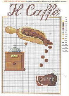 Cupcake Cross Stitch, Tiny Cross Stitch, Cross Stitch Kitchen, Cross Stitch Charts, Cross Stitch Patterns, I Love Coffee, Chain Stitch, Cross Stitching, Needlework