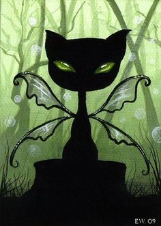 Art 'Shadow Cat Of The Mystical Green Forest' - by Elaina Wagner from Cats and other animals