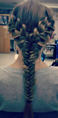 I don't like the fishtail going down, but the top part is pretty, and you could do some kind of bun underneath where the braid is.