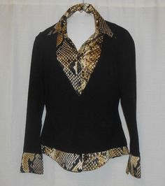 CACHE Shirt Top Animal Print Black Women Size M Medium 2 Pc Layer Look Long Slv #Cache #Blouse #Casual