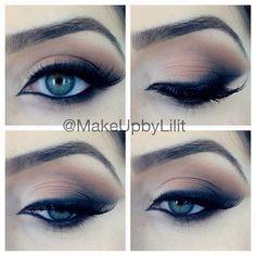 Eyes / eyeliner / eyeshadow / black / bronze / eyebrows / make up / smokey eye All Things Beauty, Beauty Make Up, Hair Beauty, Prom Makeup, Wedding Makeup, Bridal Makeup, Runway Makeup, Homecoming Makeup, Girls Makeup