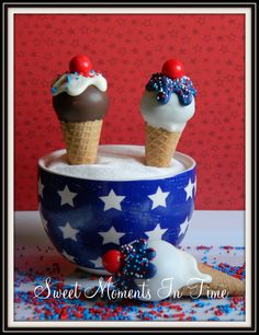 Fourth of July Ice Cream Cake Pops www.facebook.com/sweetmomentsintime