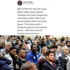 "6,839 mentions J'aime, 194 commentaires - HuffPost Black Voices (@blackvoices) sur Instagram : ""In December, a middle school in Dallas needed help a ""Breakfast with Dads"" event, but there was…"""