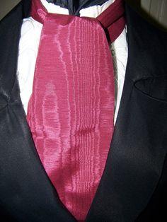 Cravat In A Burgundy Taffeta Fabric Ascot Mens by lavonsdesigns