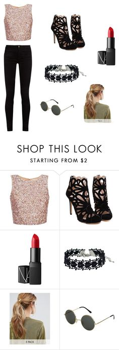 """Glitter"" by camilaqv ❤ liked on Polyvore featuring beauty, NARS Cosmetics, Kitsch and Gucci"