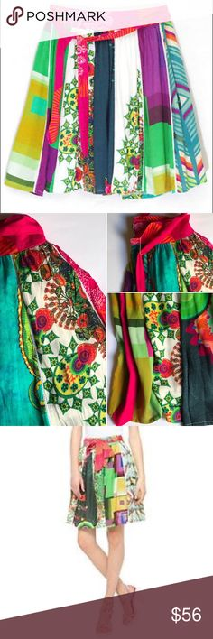 """Desigual skirt Fal Yumi gorgeous multi color skirt with a mishmash of green, white, orange, pink  100% viscose  lining 100% cotton  * size 38 Euro: length 21""""; waistband 30""""• * perfect for spring and summer * never worn, new without tag * photo 3: Desigual (the same skirt similar pattern) Desigual Skirts"""