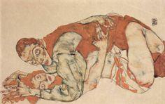 """Egon Schiele """"Atto d'amore"""" 1918 ( Making Love)"""