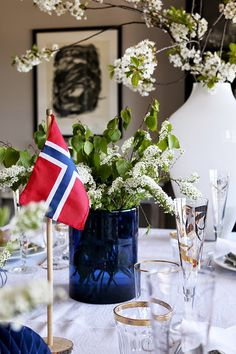 Red White Blue, White White, Constitution Day, Spring Sign, More Pictures, Branches, Norway, Cherry, Table Settings