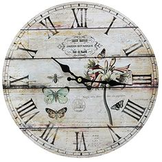Home Decoration Vintage Style Shabby Chic MDF Jardin Botanique Scene Vintage Style Wall Clock with Roman Numerals Obique http://www.amazon.co.uk/dp/B00QKJOBMI/ref=cm_sw_r_pi_dp_25zKub1NEFC82