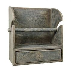 Country Rustic Primitive Paper Towel Holder/shelf W/drawer Cobblestone