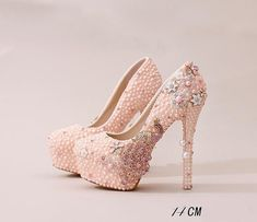 Handmade High Heels Round Toe Pearls Crystal Wedding Shoes 8528737e6e37