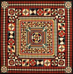 Geometric Quilt, Artist unidentified United States or Great Britain c. Pieced and appliquéd flannel 67 x 66 in. American Folk Art Museum, gift of Altria Group, Inc. Old Quilts, Amish Quilts, Antique Quilts, Vintage Quilts, Victorian Quilts, Triangles, Geometric Quilt, Hexagon Quilt, Civil War Quilts