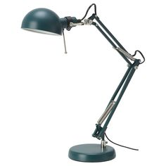 FORSÅ Work lamp with LED bulb, dark red. Classic style work lamp in steel that will brighten up your day. The arm and shade are adjustable which makes it a great lamp for reading by the desk, bed or sofa. Ikea Desk Lamp, Table Lamp, Ikea Forsa, Lamp Light, Light Bulb, Design Ikea, Work Lamp, Ikea Family, Led Lamp