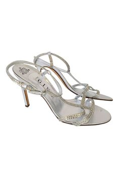 GINA Silver Swarovski Crystal Studded Strappy Shoes (UK 6)