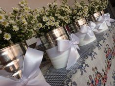 Tin can centerpieces Tin Can Crafts, Diy And Crafts, Recycle Cans, Baptism Party, Wedding Decorations, Table Decorations, Ideas Para Fiestas, First Holy Communion, Deco Table