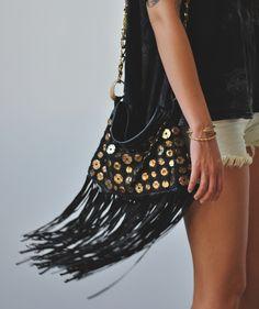 hippie boho fringe purse - black and gold bag