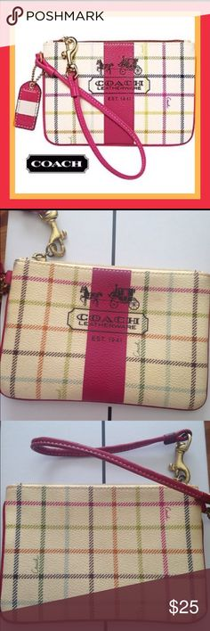 """FINAL PRICE COACH TATTERSALL PLAID WRISTLET 100% authentic Coach. Zip top closure. Fabric lining. Golden hardware. Coach hang tag. Coated fabric with leather trim. 6""""L x 4""""H FINAL PRICE. Disclosure: there is wear and a slight stain on the front see pic Coach Bags Clutches & Wristlets"""