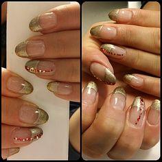 Gold nail tip,Christmas nails
