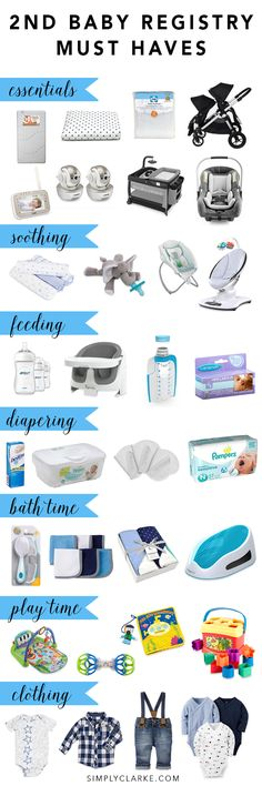 2nd Baby Registry Must Haves - Complete Registry Checklist including all things nursery, soothing, feeding, diapering, bath time, play time and clothing! Even get an idea for your first baby!