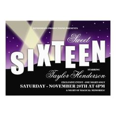Sweet 16 Hollywood Premiere Party Invitations #sweetsixteen #party #hollywood #themeparty