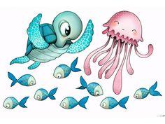 Tortue, méduse et poisson