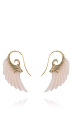 Shop Exclusive Wing Earrings With 18K Gold And Rose Agate by Noor Fares for Preorder on Moda Operandi