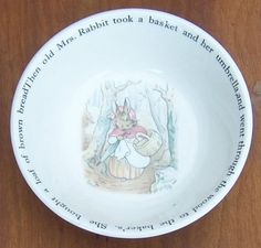 Vintage Wedgwood China Peter Rabbit Child's Bowl with Old Mrs. Rabbit